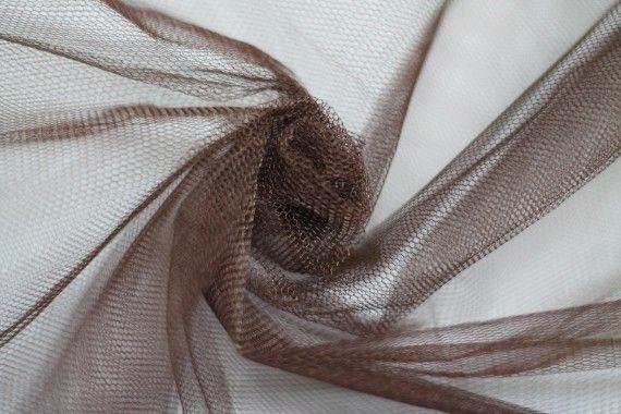 Tissu Tulle Raide Choco Coupon de 3 mètres