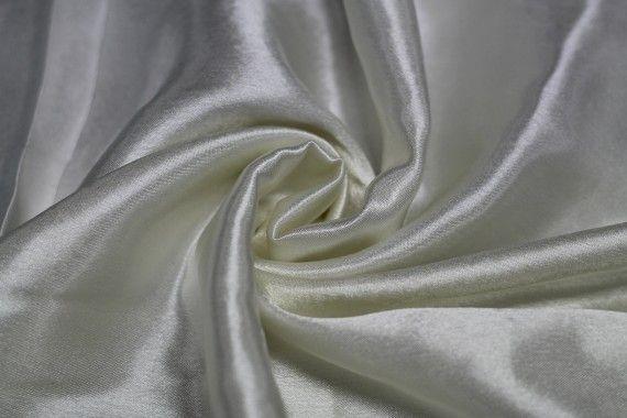 Tissu Doublure Satin Ivoire Grande Largeur -Au Mètre
