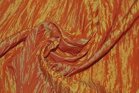Tissu Taffetas Plissé Orange -Au Mètre