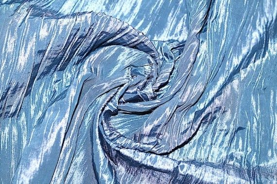 Tissu Taffetas Plissé Turquoise -Au Mètre
