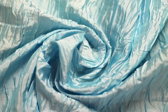 Tissu Taffetas Plissé Aqua -Au Mètre