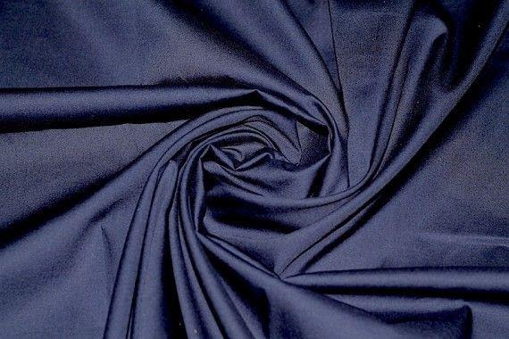 Tissu Popeline Unie 100% Coton Marine -Au Mètre