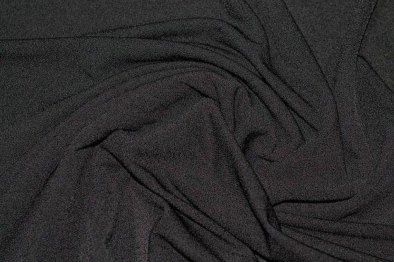 Tissu Crêpe Crézia Maille Noir -Coupon de 3 mètres