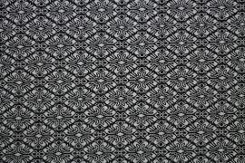 Tissu Jacquard Vague Noir/Ecru -Au Mètre