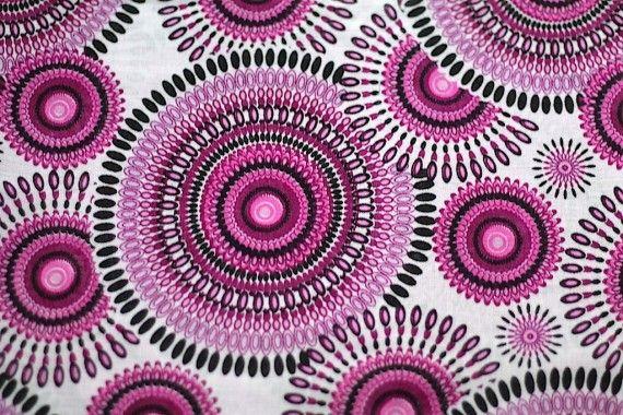 Tissu Viscose Imprimée Cercle Violet -Au Mètre