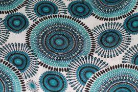 Tissu Viscose Imprimée Cercle Bleu -Au Mètre