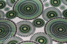 Tissu Viscose Imprimée Cercle Vert -Au Mètre