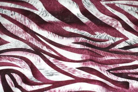 Tissu Viscose Imprimée Zèbre Bordeaux -Au Mètre