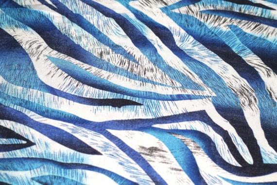 Tissu Viscose Imprimée Zèbre Turquoise -Au Mètre