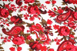 Tissu Viscose Imprimée Cachemire Rouge -Au Mètre