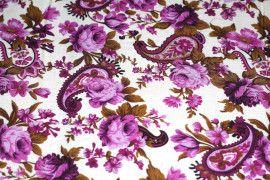 Tissu Viscose Imprimée Cachemire Violet -Au Mètre