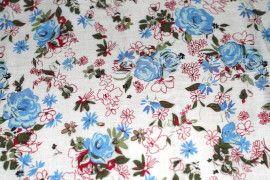 Tissu Viscose Imprimée Nature Bleu -Au Mètre