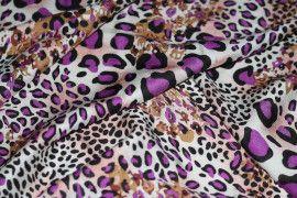 Tissu Viscose Imprimée Léopard Violet -Au Mètre