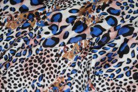 Tissu Viscose Imprimée Léopard Bleu -Au Mètre