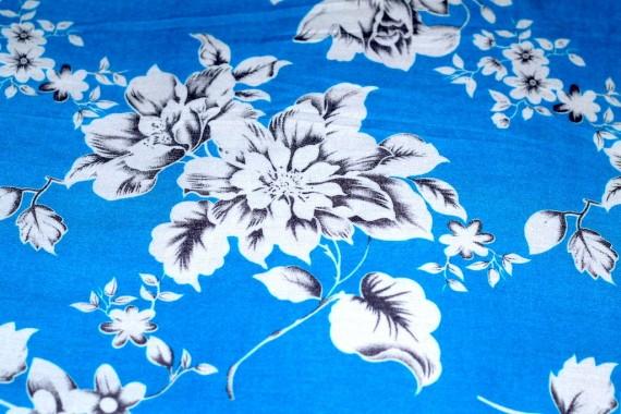 Tissu Viscose Imprimée Grande Fleur Turquoise -Au Mètre