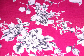 Tissu Viscose Imprimée Grande Fleur Fuchsia -Au Mètre