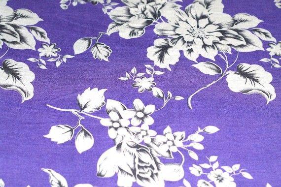 Tissu Viscose Imprimée Grande Fleur Violet -Au Mètre