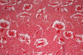 Tissu Viscose Imprimée Tulipe Rouge -Au Mètre