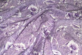 Tissu Viscose Imprimée Tulipe Violet -Au Mètre