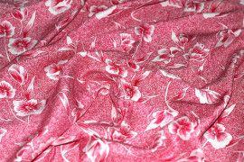 Tissu Viscose Imprimée Tulipe Bordeaux -Au Mètre