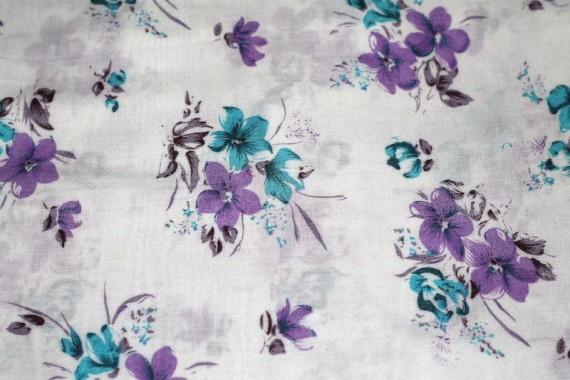 Tissu Viscose Imprimée Lilas Violet/Bleu -Au Mètre