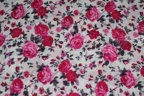 Tissu Viscose Imprimée Bouquet de Fleurs Rose -Au Mètre