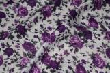Tissu Viscose Imprimée Bouquet de Fleurs Violet -Au Mètre