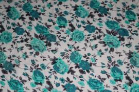 Tissu Viscose Imprimée Bouquet de Fleurs Vert D'Eau -Au Mètre
