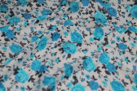 Tissu Viscose Imprimée Bouquet de Fleurs Turquoise -Au Mètre