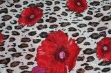 Tissu Viscose Imprimée Léopard Fleur Rouge -Au Mètre