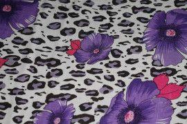 Tissu Viscose Imprimée Léopard Fleur Violet -Au Mètre