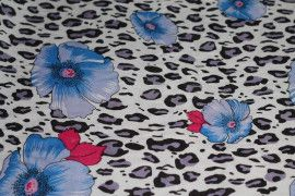 Tissu Viscose Imprimée Léopard Fleur Bleu -Au Mètre