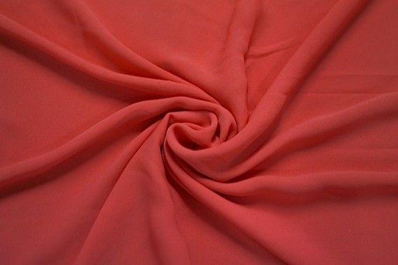 Tissu Crêpe Mousseline Twist Corail -Au Mètre