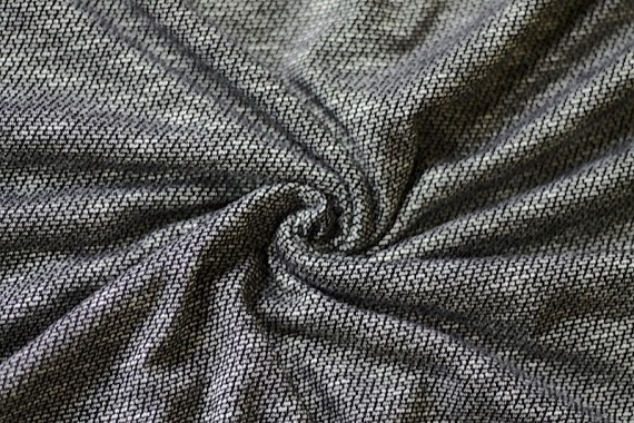 Tissu Maille Pull Marble Noir -Au Mètre