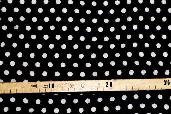 Tissu Viscose Imprimée Pois Noir/Blanc -Au Mètre