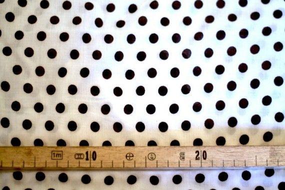Tissu Viscose Imprimée Pois Blanc/Noir -Au Mètre