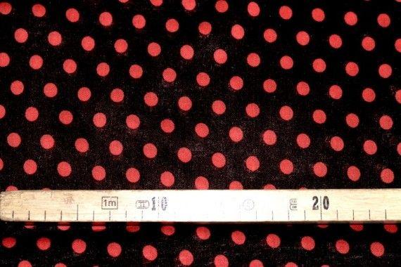 Tissu Viscose Imprimée Pois Noir/Rouge -Au Mètre