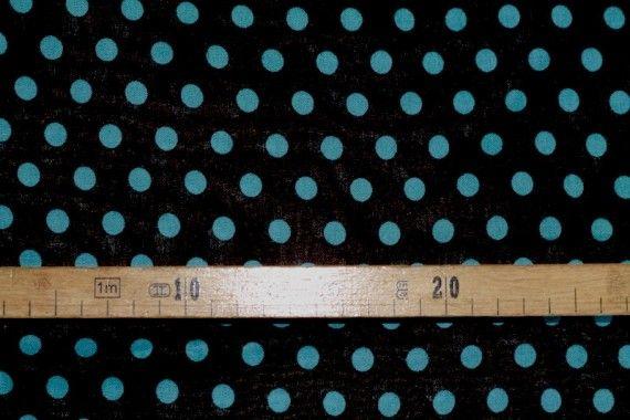 Tissu Viscose Imprimée Pois Noir/Turquoise -Au Mètre