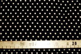 Tissu Viscose Imprimée Petit Pois Noir/Ecru -Au Mètre