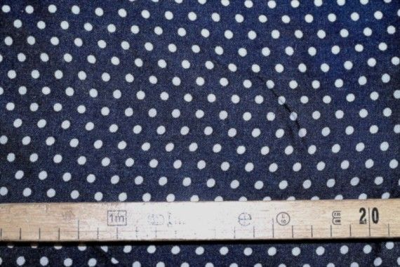 Tissu Viscose Imprimée Petit Pois Marine/Blanc -Au Mètre