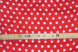 Tissu Viscose Imprimée Pois Rouge/Blanc -Au Mètre