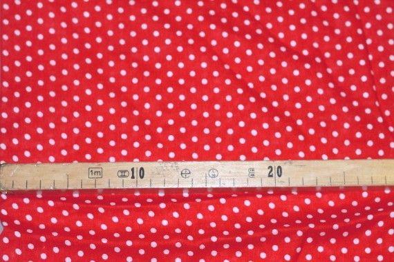 Tissu Viscose Imprimée Petit Pois Rouge/Blanc -Au Mètre