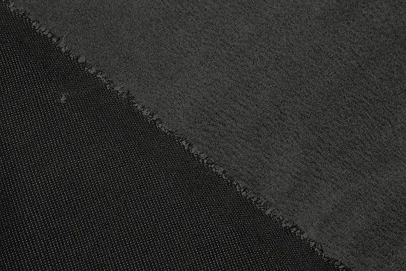 Tissu Maille Doublée Fourrure Noire/Grise -Coupon de 3 mètres