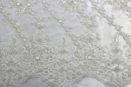 Tissu Tulle Perlé Blanc -Coupon de 3m40