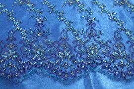 Tissu Tulle Perlé Bleu Roi -Coupon de 3m40