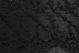 Tissu Tulle Perlé Noir -Coupon de 3m40