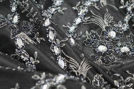 Tissu Tulle Perlé Noir Argent -Coupon de 3m40