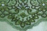 Tissu Tulle Perlé Vert Pistache -Coupon de 3m40