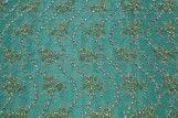 Tissu Tulle Perlé Vert Royal -Coupon de 3m40