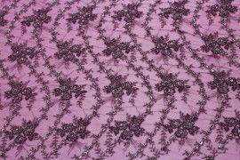 Tissu Tulle Perlé Fuchsia -Coupon de 3m40